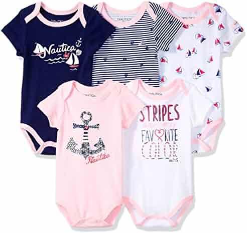 Nautica Baby Girls 5 Pack Bodysuit