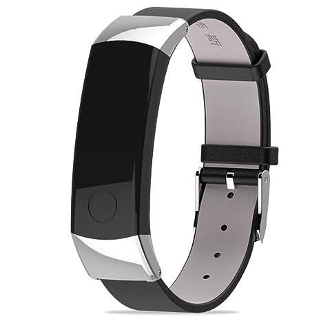 squarex Mijoas - Correa de Piel para Reloj Inteligente Huawei Honor 3, Mujer, Plata