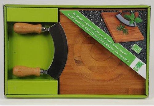 MQ Bambus Schneidebrett Kräuterschneidebrett Wiegemesser Kräutermesser Messer Kräuter Brett