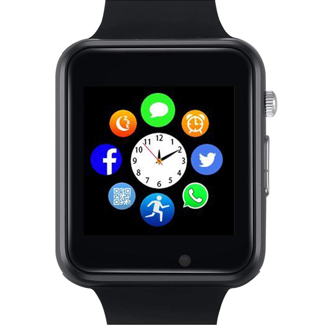 Smart Watch - YIIXIIYN Bluetooth Smart Watch Sport Fitness Tracker Wrist Watch Touchscreen with Camera SIM SD Card Slot Watch Compatible iPhone iOS Samsung LG Android Women Men Kids (Black)