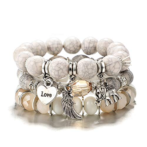 VONRU Boho Bead Stackable Bracelets for Women - Vintage Multi Layer Colorful Beads Bracelets Bohemian Anklets Charm Birthstone Yoga Chain Stretch Beach Bangle (White Elephant Bracelet)