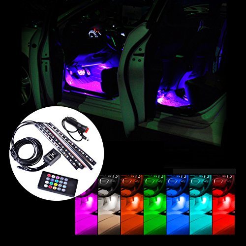 beler Car Interior Floor 12 LED Wireless Remote Control Decorative Atmosphere Multi-color Neon Lights Lamps Strip Kit (Fulfilled by hermeshine)
