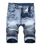CLANNAD Men's Moto Biker Shorts Jeans Zipper Denim Casual Slim Shorts with Hole Navy Blue 30