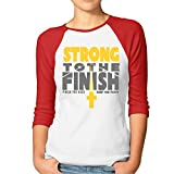Strong To The Finish Christian Women's 3/4 Sleeve Raglan Tee Shirts Cotton Red