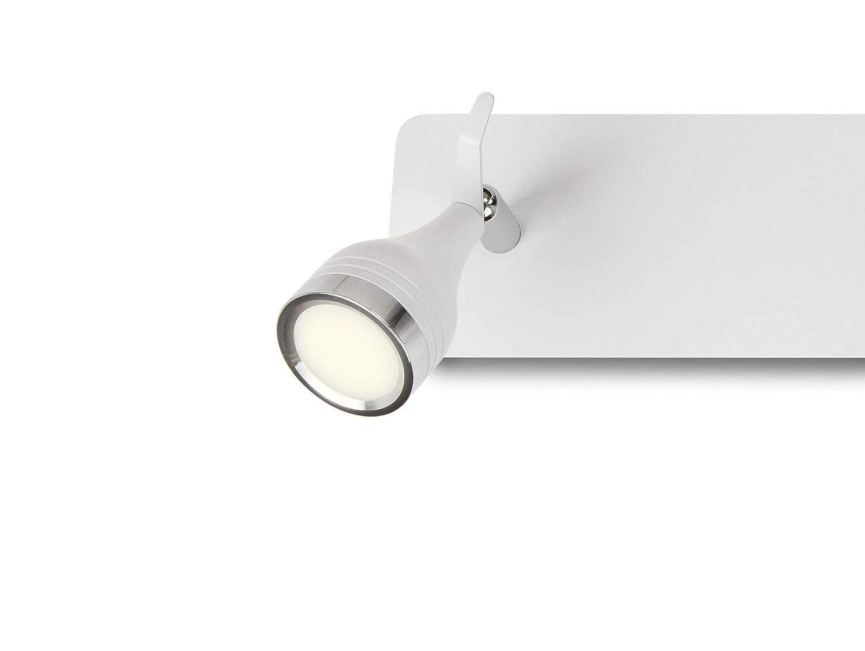 L/ámpara de pared LIX con dos focos LED 3000K regleta rectangular 5W x 2 y 900 l/úmenes acabado lacado blanco combinado con cromo luz blanca c/álida focos ajustables y giratorios para interiores