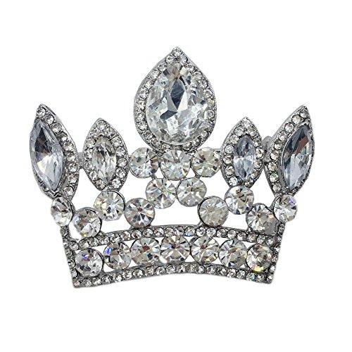 rial Crown Wedding Pendant Rhinestone Crystal Brooch Pin (White) ()