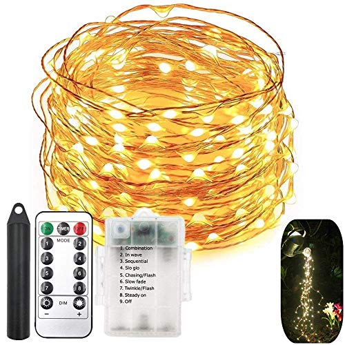 120 LEDs String Fairy Lights,6 Six-Ft Strands,20 Warm White LEDs per Strand,Flexible Copper Wire for Glowing Watering Can with Light,Waterproof,Battery Operated,8 Modes Remote Control with Timer