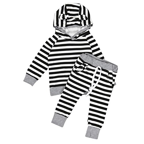 gbsell-2pcs-newborn-infant-baby-boy-girls-clothes-stripe-hooded-t-shirt-tops-pants-outfits-set-black