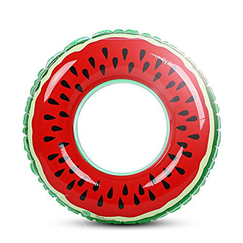 Fruit Pool Float, MUMAX Watermelon Tube Ring Inflatable Durable Summer Swim Pool Party Float for Adults and Kids (90cm)