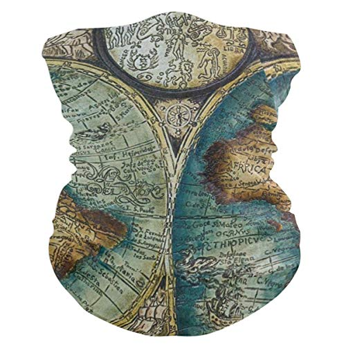 Old World Map Art Headband Womens Bandana Mens Balaclava,Neck Warmer,Face Mask,Tube Headwrap