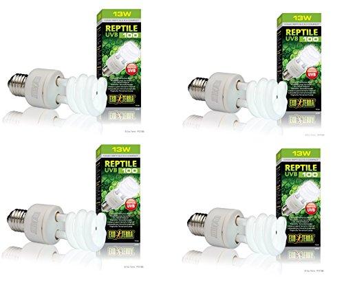 (4 Pack) Exo Terra Repti-Glo 5.0 Compact Fluorescent Tropical Terrarium Lamps, 13 (Repti Glo 5.0 Compact)