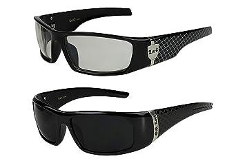 2er Pack Locs 9069 X 03 Sonnenbrillen Herren Damen Männer Brille - 1x Modell 01 (schwarz glänzend - Grid-Design/schwarz getönt) und 1x Modell 05 (schwarz glänzend - Square-Design/schwarz getönt) JWFtU5