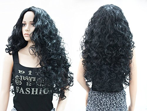 OneDor Long Hair Curly Wavy Full Head Halloween Wigs Cosplay Costume Party Hairpiece (1#-Black) (Halloween Costumes Curly Hair)