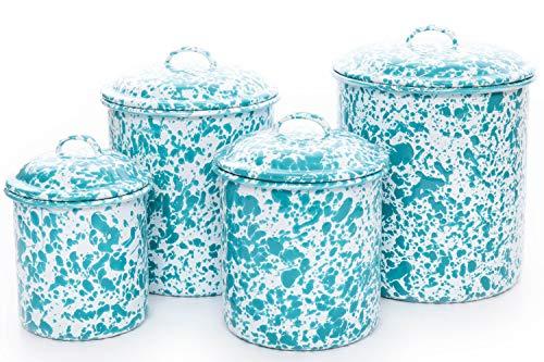 Enamelware Canister Set, 4 piece, Turquoise/White Splatter