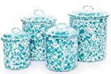 Enamelware Canister Set, 4 piece, Turquoise/White