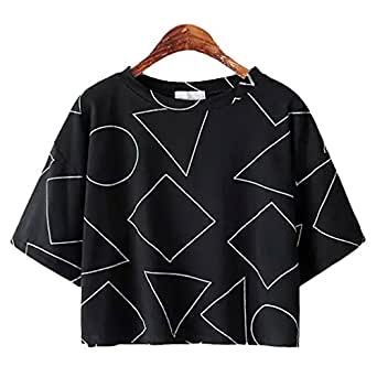 SAYM Women Hipster Geometric Patterns Print Crop Tops Black