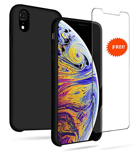 icone Case,Liquid Gel Rubber Full Body Protection Shockproof Case (Include Free Screen Protector), Soft Microfiber Cloth Lining Cushion Compatible with iPhone Xr, Black ()