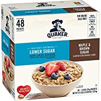 Deals on Quaker Instant Oatmeal, Lower Sugar, Maple & Brown Sugar, 48 Count