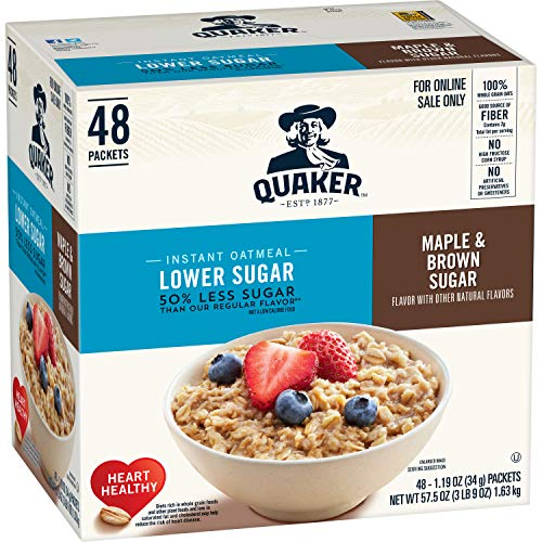 - Quaker Instant Oatmeal, Lower Sugar, Maple & Brown Sugar, 48 Count