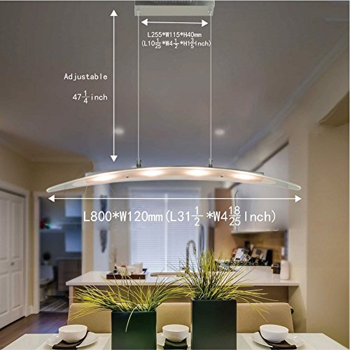 FOSHAN MINGZE Stylish Contemporary LED Pendant Light With Adjustable  Height,Chrome Finished Chandelier Ceiling Light Fixture For Dining Room/Kitchen  ...
