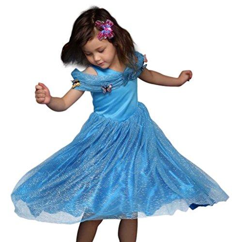 Pettigirl Girls Dress Blue Butterfly Halloween Costume Princess Party Dress 6 (Blue Butterfly Halloween Costume)