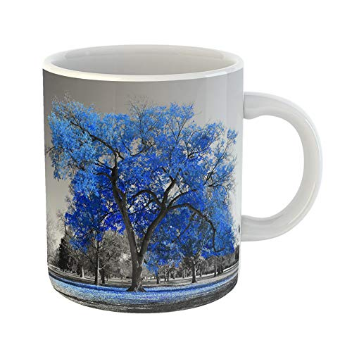 Halloween City Denver Co (Emvency Coffee Tea Mug Gift 11 Ounces Funny Ceramic Blue City Big Red Tree in Black and White Landscape Color Gifts For Family Friends Coworkers Boss)