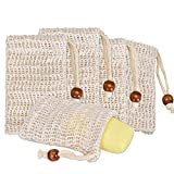 Sisal Soap Bag (5-Pack) Ideal for Scraps & Save Soaps, Natural Fiber Soap Bags for Foaming and Drying The Soap, Organic Soap Bag With Pouch Holder for Shower Bath