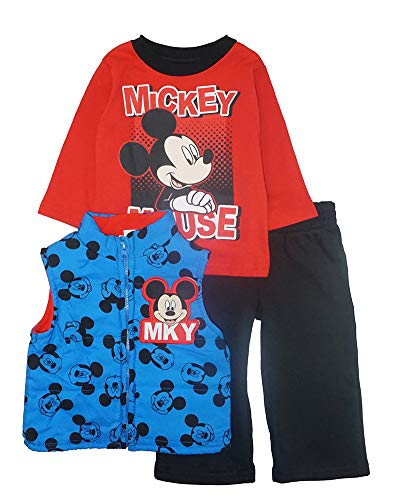 Disney Baby Boys' Infant Mickey Mouse Three-Piece Vest Set with Sweat Pant, Blue/Black/Red, 18M