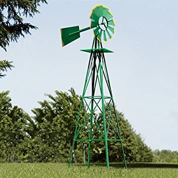 Ornamental Garden Windmill   Green And Yellow