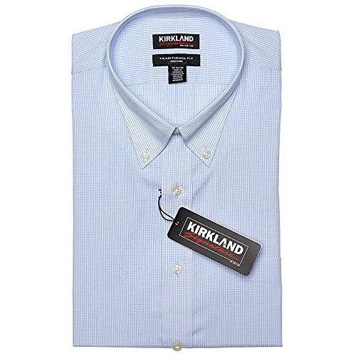 Kirkland Signature Men's Non Iron Button Down Dress Shirt (Light Blue & White Mini Check, 16.5-34/35)