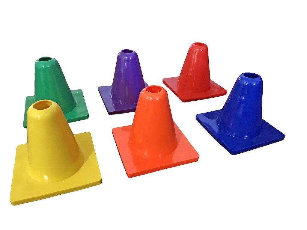 CSI Cannon Sports Assorted Colors Multi-Purpose Vinyl Activity Cones, 6'' Height, Set of 6