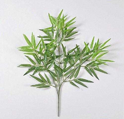 Artificial Silk Maple Leaf Branches Faux Lamination Red Leaves Arrangements Faux Bamboo Leaf Branches SPRAYS Darker green Home Garden Office Market Restaurant Wedding Decor (12, GREEN BAMBOO) (Maple Silk Tree)