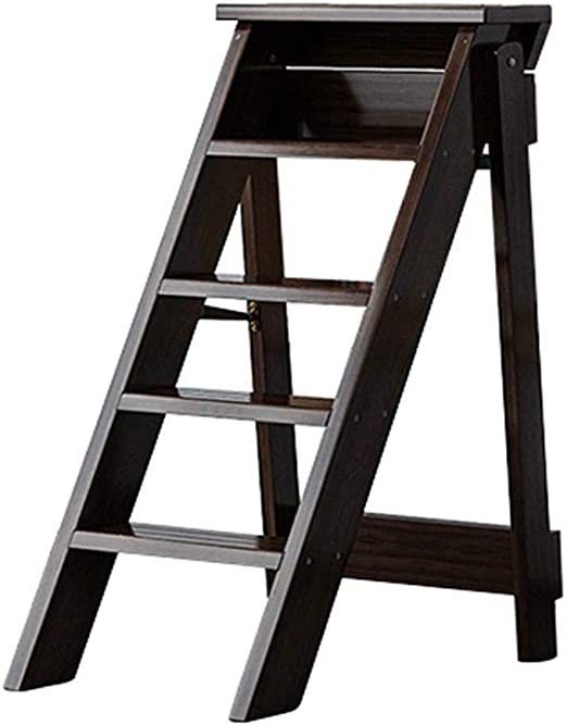 XITER Escaleras Plegables de Madera Taburetes, 5 peldaños, Escaleras portátiles con escaleras/escaleras Taburete multifunción Escalera Escalera (Color : Brown): Amazon.es: Hogar