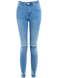 c312ab1e9d974 SS7 Femmes Perle Slim Fit Jeans Skinny Genou RIP Jeans Taille 10 12 14 6 8