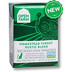 Open Farm Homestead Turkey Rustic Blend Stew for Cats 5.5 Ounces, Case of 12