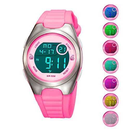 Kids Digital Sport Watch Outdoor Waterproof Watch with Alarm for Child Boy Girls Gift LED Kids Watch (7 Colors Pink)