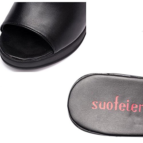 pour Femmes Cool Fashion Slippers hauts chaussures Noir UK3 femmes 5 Blanc HAIZHEN Pour Noir femmes Talons Europe CN35 d'été Couleur Noir EU36 taille 10cm n5qwX8YXx0
