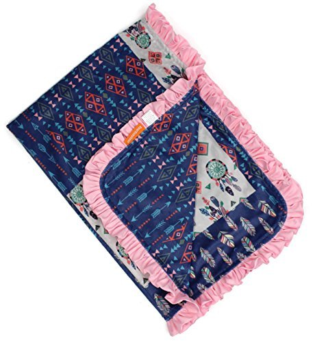 Dear Baby Gear Deluxe Baby Blankets, Custom Minky Print Dream Catcher Feathers Aztec Faux Quilt Block with Pink Ruffle, 38 Inches by 29 Inches