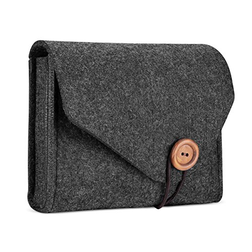 ProCase Felt Storage Case Bag, Portable Travel Electronics Accessories Organizer Pouch for MacBook Laptop Mouse Power Adapter Cables Power Bank Cellphone Accessories Charger SSD HHD –Black