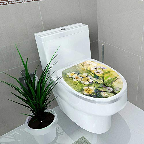 Auraise-home Waterproof & Removable Stickers Watercolor White Cherry Blossoms Japanese Cherry Sakura Floral in Yellow Green Color and Blurred Bathroom Toilet Cover Sticker W11 x L13 ()