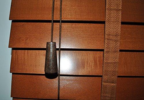 Holzjalousie Jalousie Plissee Echtholz Lamellenbreite 50mm Crown L verschiedene Farben (Weiß, Mittelbraun, Dunkelbraun) und Größen (60cm x 170cm - 150cm x 250cm) (120cm x 250cm (BxL), Mittelbraun)