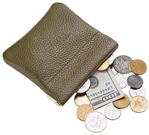 Travelambo Leather Squeeze Coin Purse Pouch Change Holder For Men & Women (Pebble Green -