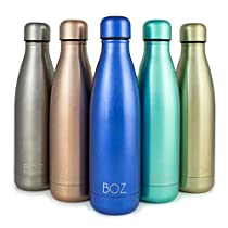 BOZ Stainless Steel Water Bottle - Vacuum Insulated Double Wall (500mL / 17oz) Standard Mouth, BPA Free