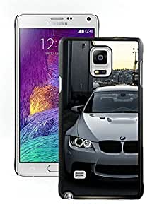 White BMW M E Front Black Samsung Galaxy Note 4 Screen Cover Case Fantasy and Luxurious Skin