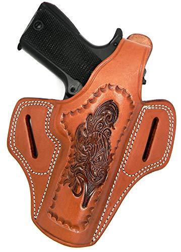 "HOLSTERMART USA Right Hand Tooled Brown Leather Thumb Break Belt Holster for 5"" Nonrail 1911, COLT, Kimber, Springfield, Taurus, etc."