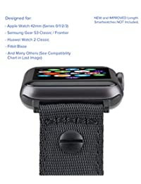 [Upgraded] Truffol 22mm NATO Luxe Woven Nylon Band for Apple Watch 42mm, Samsung Gear S3 Frontier & Classic, Huawei Watch 2 Classic - Replacement Watch Strap with Steel Buckle (Black / Space Gray)
