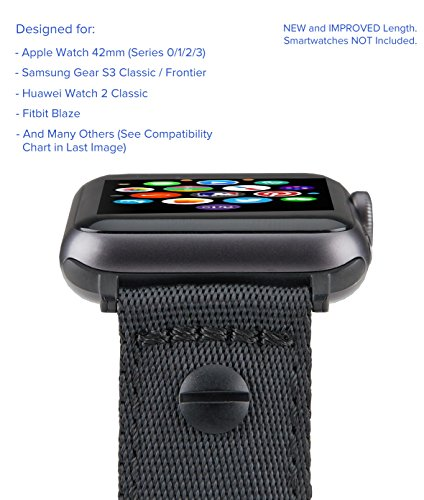 [Upgraded] Truffol 22mm NATO Luxe Woven Nylon Band for Apple Watch 42mm, Samsung Gear S3 Frontier & Classic, Huawei Watch 2 Classic - Replacement Watch Strap with Steel Buckle (Black/Space Gray)