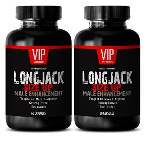 Testosterone booster pills men - LONGJACK SIZE UP 2170Mg - MALE ENHANCEMENT SUPPLEMENT (With Maca, Tongkat Ali, L-Arginine, Ginseng and Zinc) - 2 Bottles 120 Capsules
