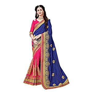 MANOHARI Women's Art Silk Saree With Un-stitched Blouse (MN359_Blue)
