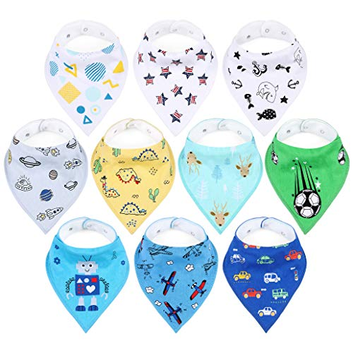 Baby Bibs for Boys, 10 Pack Organic Cotton Bandana Bibs with Adjustable Snaps, Stylish Patterns, Super Soft and Absorbent Baby Shower Gift, Newborn Toddler Washable Saliva Cloths for Drooling&Teething (Best Bandana Bib Pattern)